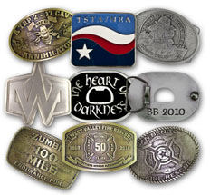 Custom belt buckles made the way you want - large and small, antique and bling bling, shiny, with or without color, round, square, any shape, gold, silver, bronze, personalized the way you want.
