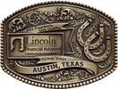 Financial industry western theme belt buckle with horseshoes