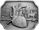 Human heart organ on western theme belt buckle