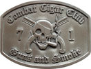 United States Army Club belt buckle with skull smoking cigar and crossed guns