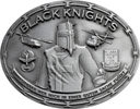 Knight chainmail belt buckle with two helicopters and Razor Wire Border