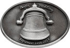 Belt buckle with bell and inscription announcing wedding date