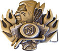 Motorcycle engine belt buckle with Native Indian and feathers