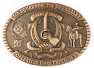 Army belt buckle with soldier on horseback