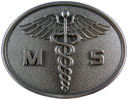 Belt buckle with Caduceus medical symbol