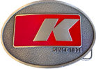 Oval belt buckle with color accent and letter