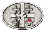 Oval belt buckle with crosses and skeleton figure