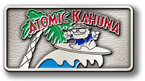 Palm tree and surfer on colorful belt buckle