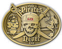 Pirate skull oval belt buckle with ship and mermaid with crossed sabres