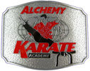 Karate Academy belt buckle with sports participant centered over globe in background