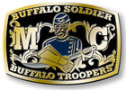 Calvary regiment color accent belt buckle with solider and sword and gloves