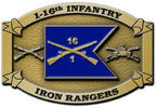 Infantry regiment color accent belt buckle with crossed rifles