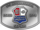 Clay target shooting belt buckle with center color accent shield