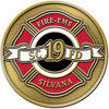 Fire and Emergency Service Provider round belt buckle with color accent maltese cross