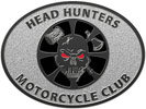 motorcycle club oval belt buckle with skull and axes