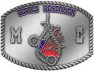 motorcycle club belt buckle with henchmen noose and rope border
