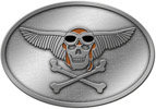Oval belt buckle with skull and wings and crossed bones