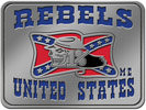 Rebel soldier motorcycle club belt buckle with color fill confederate flag