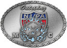 oval motorcycle club belt buckle with shiled and skull and bike chain border