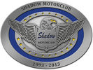 commemorative motorclub belt buckle with eagle and outstretched wings and stars on oval border