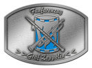 marching band belt buckle with drum and bugle