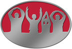 Oval belt buckle showing people with upraised arms