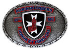 Motorcycle club belt buckle with color accent and chain link border