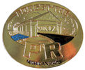 Covered bridge belt buckle with accent color fill