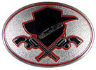 Cowboy hat with crossed pistols belt buckle with antique stippled background