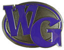 Oval belt buckle with large letters