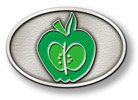 Oval belt buckle with color fill apple in center of design