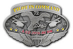 Aviation pilot belt buckle with helicopters and stars