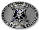 Oval motorcycle belt buckle with color fill shield with crossed swords and knight
