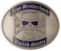 Skull with color fill accent on this unique oval belt buckle