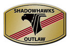Hawk head outline on red color accent belt buckle