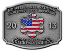 Color fill ameircan flag on snow sculpture theme belt buckle
