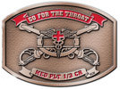 Army belt buckle with crossed sabres and color fill banner