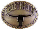 Longhorn belt buckle with rope border