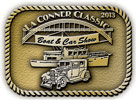 Classic boat and car show belt buckle