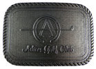 Golf club buckle with golf club and horseshoe design with rope border