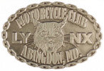 Motorcycle club belt buckle with lynx head and chain border
