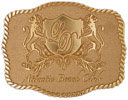 Lions embracing Crest on this intricate belt buckle with rope border
