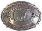 Country 4H club oval belt buckle with horse and razor wire border
