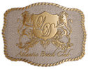 Beach club buckle with shield and lions on both sides with stippled background