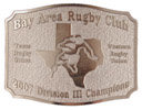 Rugby club belt buckle with stippled background and rugby player centered on state of texas in background