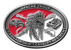 Army military troop belt buckle with color fill and headress and jeep and tank