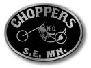 Oval motorcycle club belt buckle with chopper outline