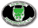 motorcycle club belt buckle with dogs head and barb wire border