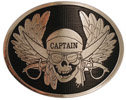Skull and Wings belt buckle with sword and pistol