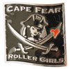 Pirate girl with crossed swords and heart on this black color fill belt buckle